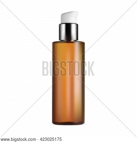 Body Or Hair Cosmetic Bottle. Pump Packaging Design Mockup. Aromatic Essential Oil Gold Template, Se