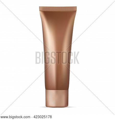 Gold Cosmetic Cream Tube. Makeup Foundation Toner, Moisturizing Product. Bb Cream Tube, Facial Conce