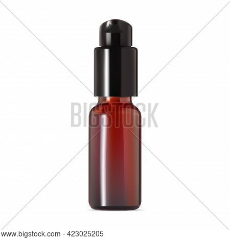 Clear Amber Bottle. Airless Pump Container Mockup. Brown Plastic Serum Spray. Dispenser Jar For Trea