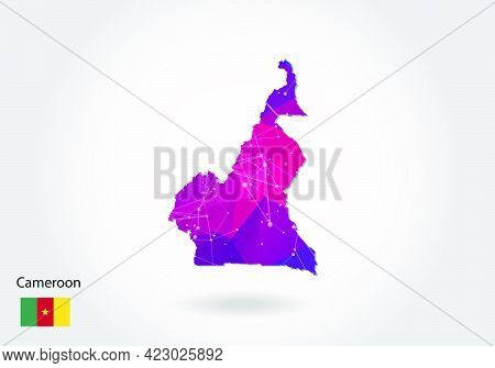 Vector Polygonal Cameroon Map. Low Poly Design. Map Made Of Triangles On White Background. Geometric