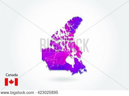 Vector Polygonal Canada Map. Low Poly Design. Map Made Of Triangles On White Background. Geometric R