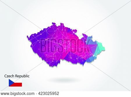 Vector Polygonal Czech Republic Map. Low Poly Design. Map Made Of Triangles On White Background. Geo