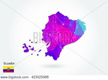 Vector Polygonal Ecuador Map. Low Poly Design. Map Made Of Triangles On White Background. Geometric