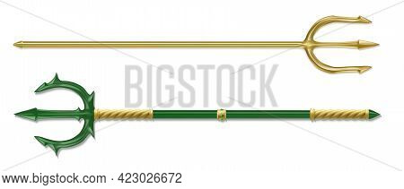 Poseidon Tridents, Marine God Neptune Weapon, Gold And Green Colored Sharp Pitchforks Decorated With