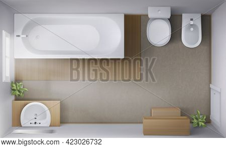 Bathroom Interior Top View, Room With Empty Bath Tub, Toilet And Bidet Bowls, Ceramic Sink With Mirr
