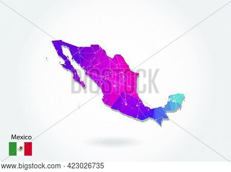 Vector Polygonal Mexico Map. Low Poly Design. Map Made Of Triangles On White Background. Geometric R
