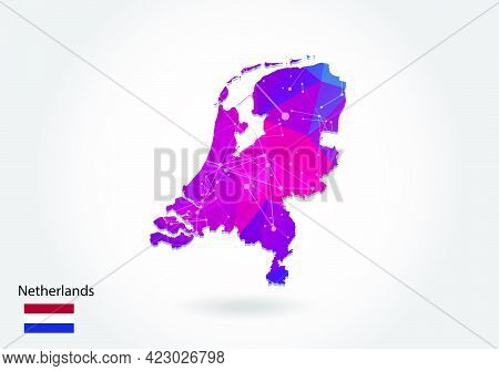 Vector Polygonal Netherlands Map. Low Poly Design. Map Made Of Triangles On White Background. Geomet