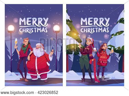 Merry Christmas Cartoon Poster, Santa Claus And Man, Girls With Champagne Glass Stand On Winter Fore
