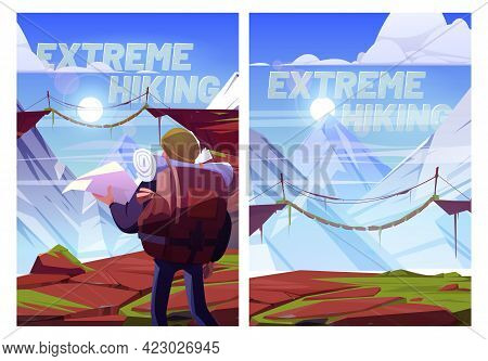 Extreme Hiking Cartoon Posters. Traveler Man With Map At Mountains Trip, Xtreme Travel Adventure. To