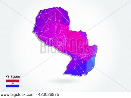 Vector Polygonal Paraguay Map. Low Poly Design. Map Made Of Triangles On White Background. Geometric
