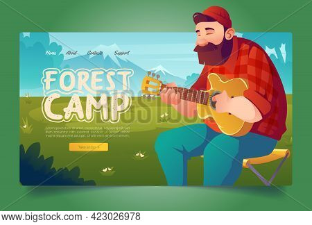 Forest Camp Cartoon Landing Page, Man Tourist Playing Guitar On Mountain Landscape Background. Summe