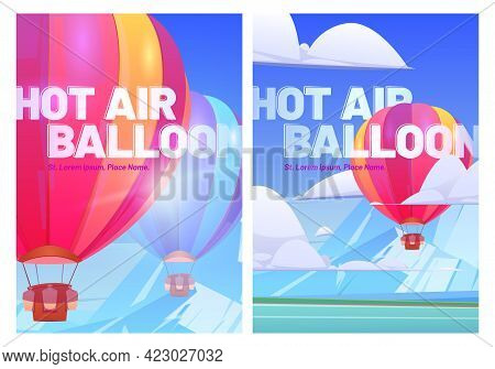 Hot Air Balloons Fly Above Mountain Valley With Lake And Green Meadows. Vector Posters Of Travel Tou