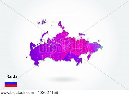 Vector Polygonal Russia Map. Low Poly Design. Map Made Of Triangles On White Background. Geometric R