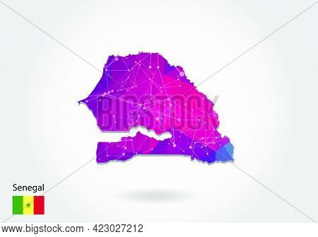 Vector Polygonal Senegal Map. Low Poly Design. Map Made Of Triangles On White Background. Geometric