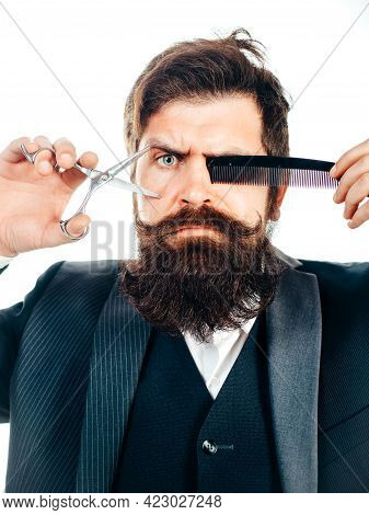 Bearded Man, Portrait Of Man With Long Beard And Moustache. Retro Barber Scissors And Comb For Barbe