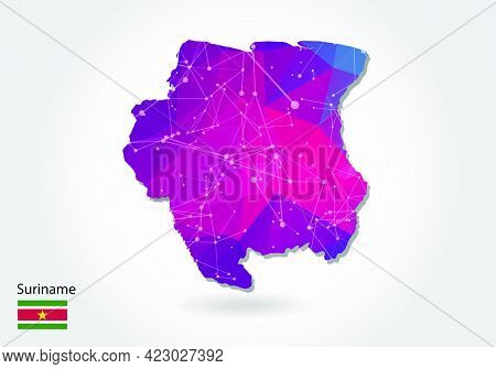 Vector Polygonal Suriname Map. Low Poly Design. Map Made Of Triangles On White Background. Geometric