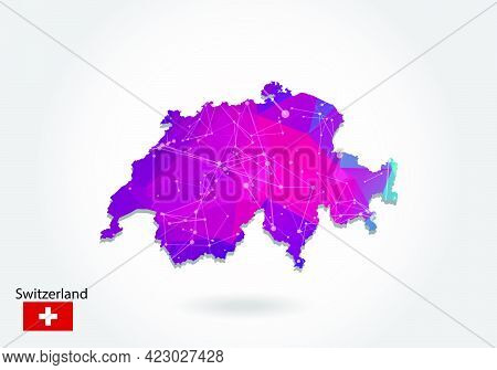 Vector Polygonal Switzerland Map. Low Poly Design. Map Made Of Triangles On White Background. Geomet