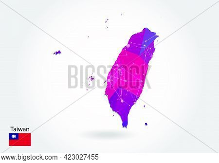 Vector Polygonal Taiwan Map. Low Poly Design. Map Made Of Triangles On White Background. Geometric R