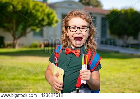 Back To School. Happy Smiling Excited Pupil From Primary School. First Day Of Autumn Fall.