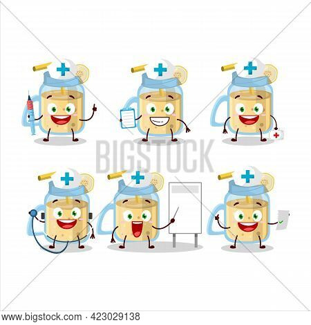 Doctor Profession Emoticon With Banana Smoothie Cartoon Character