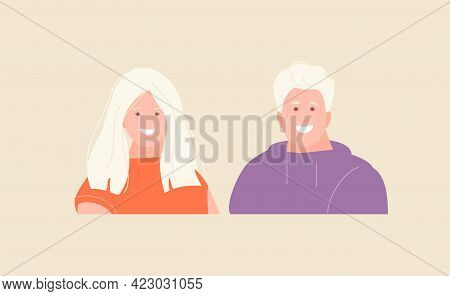 Smiling Girl And A Guy With Blond Hair And Pale Skin. Scandinavian Appearance, Albinism. Vector Avat