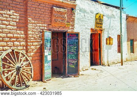 San Pedro De Atacama, Chile - October 19, 2005: View Of An Alley With Local Businesses, In San Pedro