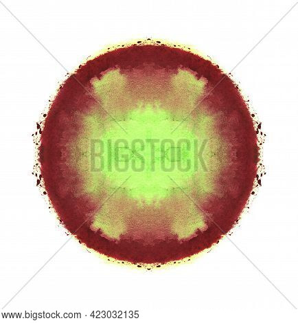 Watercolor Sphere. Abstract Symmetric Painting. Pale Green And Red Paint. Blank Abstract Smudged Tex