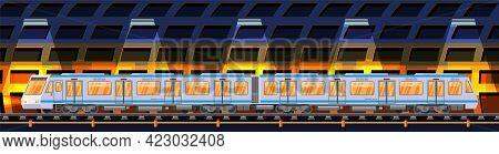 Detailed Underground Train Car In Tunnel. Subway Railway Car With Lights. Modern Urban Metro. Passen