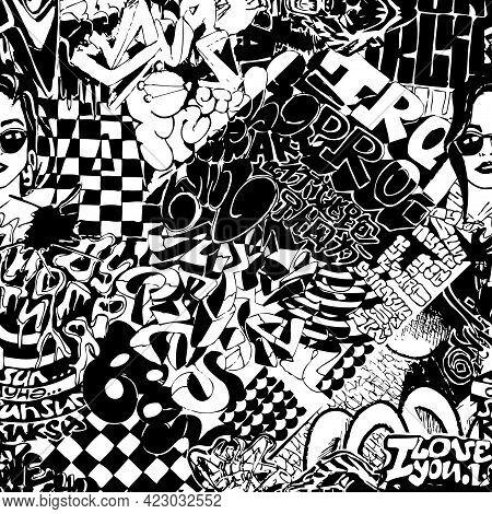 Black And White Pattern Of Grafitti, Sticker Bombing.