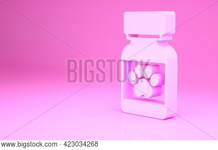 Pink Medicine Bottle And Pills Icon Isolated On Pink Background. Container With Pills. Prescription