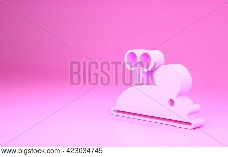 Pink Clockwork Mouse Icon Isolated On Pink Background. Wind Up Mouse Toy. Minimalism Concept. 3d Ill