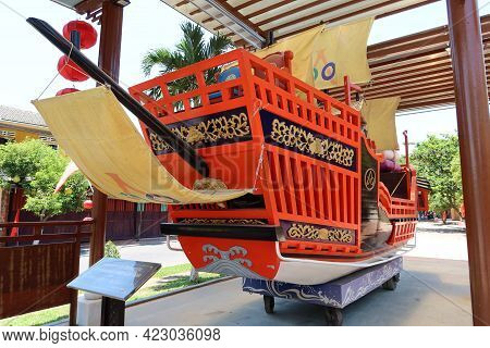 Hoi An, Vietnam, May 23, 2021: Side View Of The Commemorative Ship Of Princess Ngoc Hoa's Marriage T