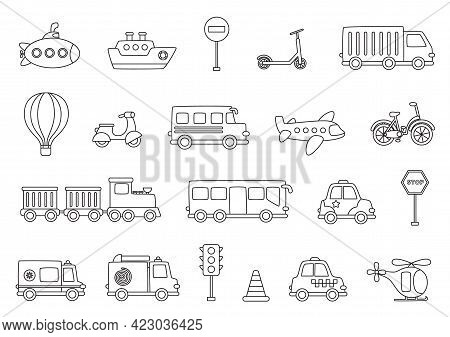 Set Of Black And White Transportation Means. Coloring Page For Children.