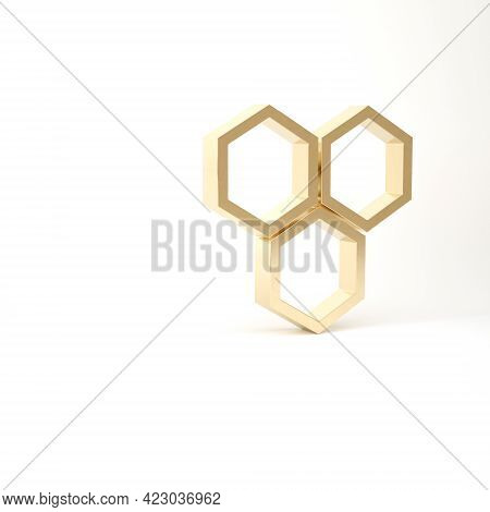 Gold Honeycomb Icon Isolated On White Background. Honey Cells Symbol. Sweet Natural Food. 3d Illustr