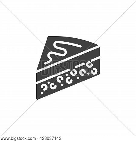 Slice Of Cake Vector Icon. Filled Flat Sign For Mobile Concept And Web Design. Cheesecake Slice Glyp