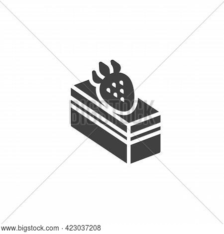 Piece Of Strawberry Cake Vector Icon. Filled Flat Sign For Mobile Concept And Web Design. Dessert Ca