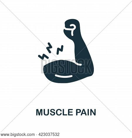 Muscle Pain Icon. Monochrome Simple Element From Coronavirus Symptoms Collection. Creative Muscle Pa