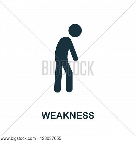 Weakness Icon. Monochrome Simple Element From Coronavirus Symptoms Collection. Creative Weakness Ico