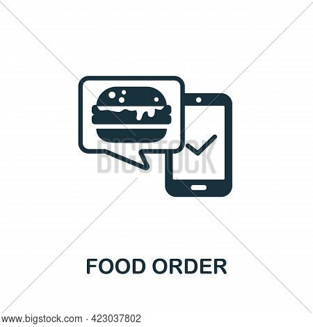 Food Order Icon. Monochrome Simple Element From Digital Service Collection. Creative Food Order Icon