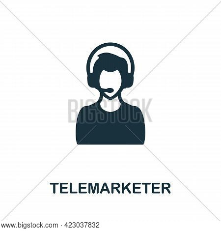 Telemarketer Icon. Monochrome Simple Element From Digital Service Collection. Creative Telemarketer