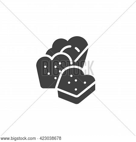 Whole Wheat Bread Vector Icon. Filled Flat Sign For Mobile Concept And Web Design. Sliced Bread Glyp