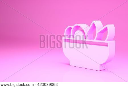 Pink Nachos In Plate Icon Isolated On Pink Background. Tortilla Chips Or Nachos Tortillas. Tradition