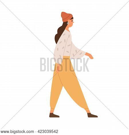 Young Woman Walking In Trendy Casual Clothes. Profile Of Female Going Forward. Person Strolling, Wea