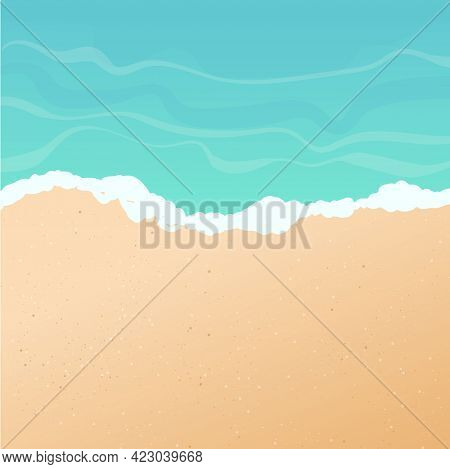 Vector Summer Background. Sunny Beach, Seashore Or Ocean With Golden Sand And Azure Water, Top View.