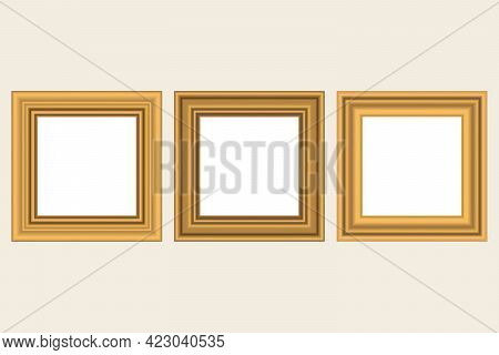 Set Of Squared Golden Vintage Wooden Frame For Your Design. Vintage Cover. Place For Text. Vintage A