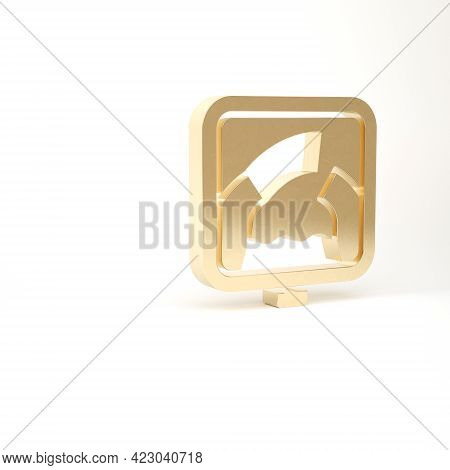 Gold Drawbridge Ahead Icon Isolated On White Background. Information Road Sign. 3d Illustration 3d R