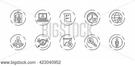 10 In 1 Vector Icons Set Related To Human Resources Theme. Black Lineart Vector Icons Isolated On Ba