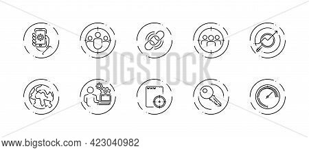 10 In 1 Vector Icons Set Related To Seo Link Optimization Theme. Black Lineart Vector Icons Isolated