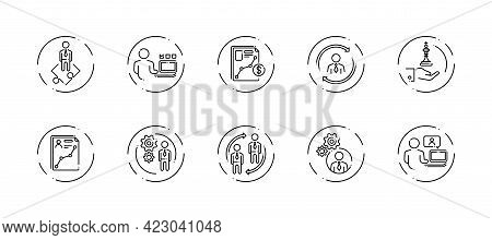 10 In 1 Vector Icons Set Related To Business Company Management Theme. Black Lineart Vector Icons Is