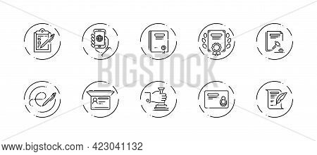 10 In 1 Vector Icons Set Related To Official Document Theme. Black Lineart Vector Icons Isolated On
